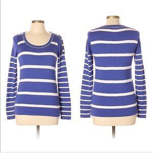 Loft Blue & White Stripe Long Sleeve Sweater